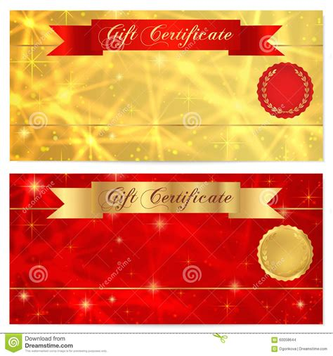free reward card template gift certificate voucher coupon reward or gift card