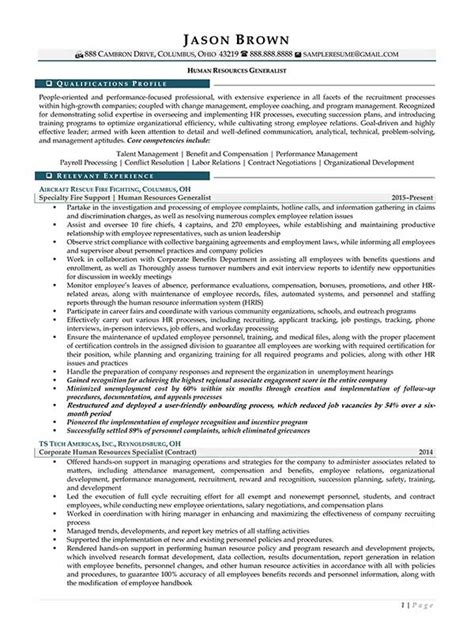 Resume Sles For Human Resources Generalist Human Resources Resume Exles Resume Professional Writers