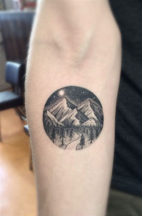 tattoo on hand round mountain tattoo small tattoo nature we heart it