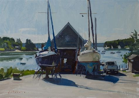 round pond boat maine paintings marc dalessio