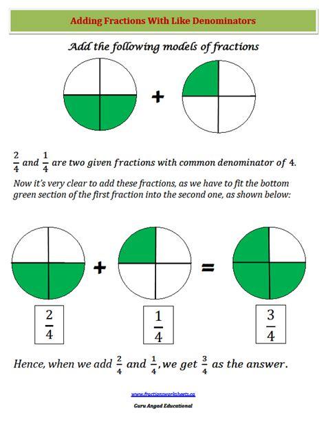 adding fractions with same denominator worksheet adding fractions