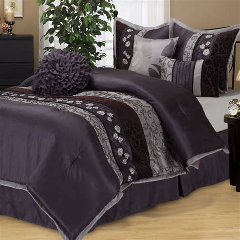 Purple And Grey Bedding Sets New Cal King Bed Purple Gray Grey Floral Stripe 7 Pc Comforter Set Ebay