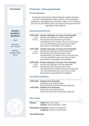 Plantilla Curriculum Vitae Experiencia Ni Estudios Consejos Para 3 Tipos De Cv Curriculum Vitae Plantilla