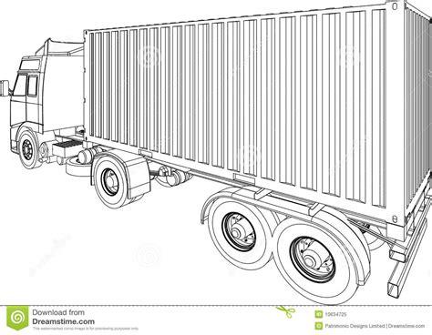 Fourgon De Conteneur De Camion Et De Remorque Illustration