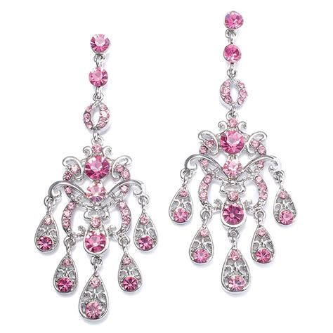 Earring Chandelier Pink Chandelier Earrings Jewelry
