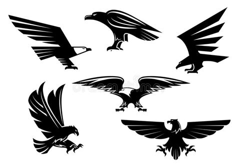 eagle vector isolated icons heraldic bird emblems stock