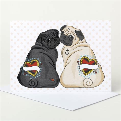 pug wedding card customisable black and fawn pug wedding card by pugyeah notonthehighstreet