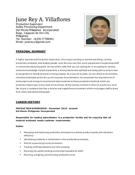 Resume F 22 Production by June Villaflores Resume 2 2 1