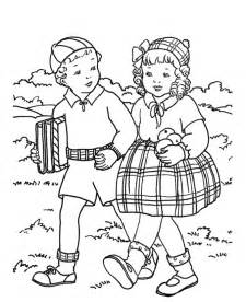 Kids coloring pages walking to school together free printable kids