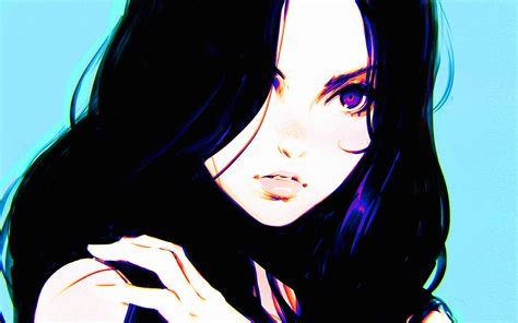 av girl ilya kuvshinov blue illustration art wallpaper