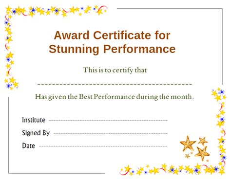 Stars Award Certificate for Performance Template   Office