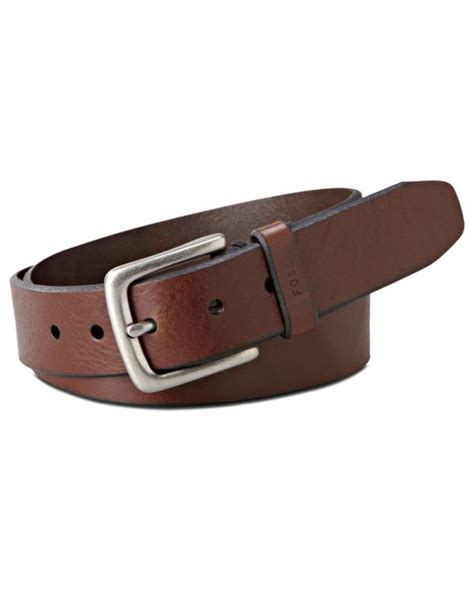 fossil joe quot big casual leather belt in brown for