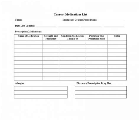 Medication List Card Template by 58 Medication List Templates For Any Patient Word Excel