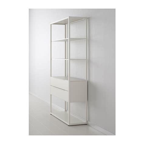 white shelving units fj 196 lkinge shelving unit with drawers white 118x193 cm ikea