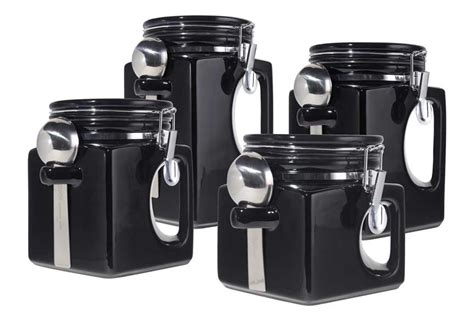 black kitchen canister new oggi handles set of 4 black sealed ceramic canisters