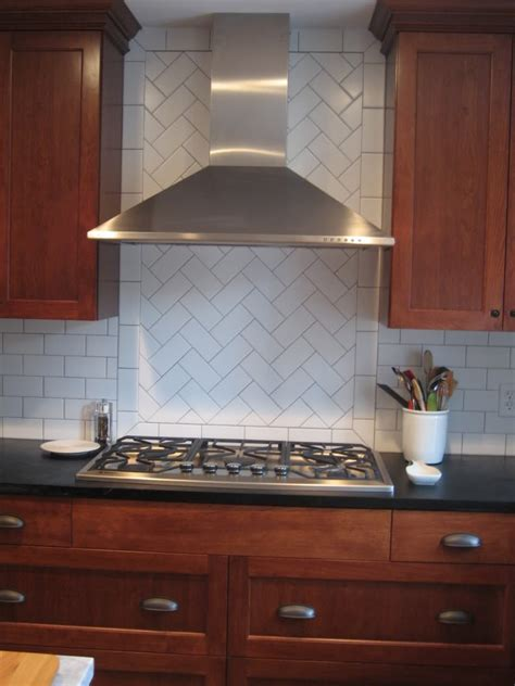 Kitchen Backsplash Tile Patterns by Herringbone Pattern In Backsplash