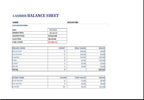 cashier balance sheet template for excel excel templates