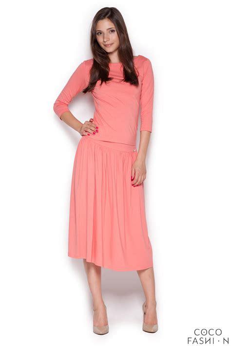 pink stylish set 3 4 sleeves blouse midi skirt