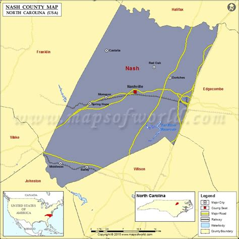 nash county map north carolina