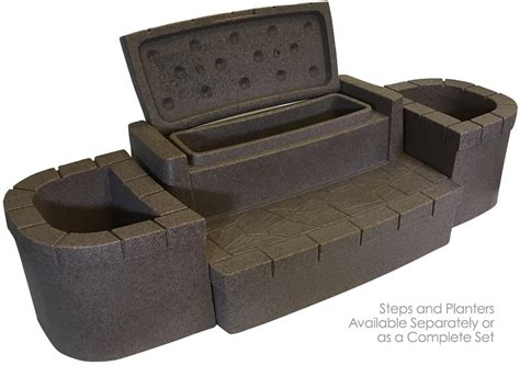 storage steps deluxe storage steps and planters set brownstone on