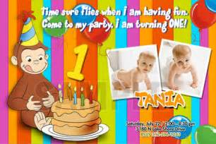 curious george invitations birthday photo printable custom personalized 1st baby