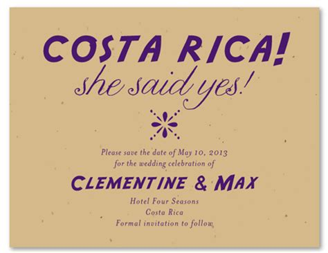 destination wedding save the date text destination wedding save the date cards on plantable paper costa rica seeded paper by
