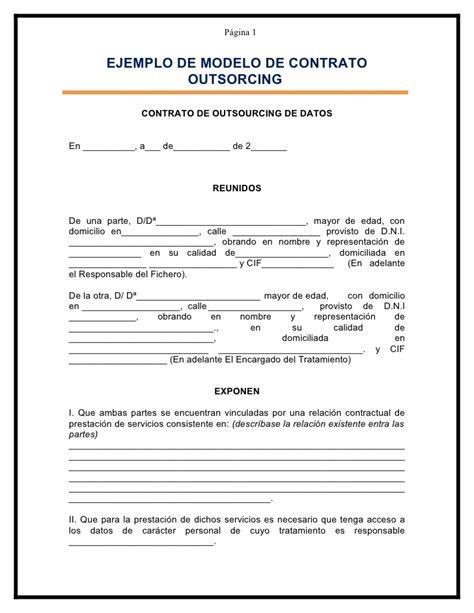 contratos modelo modelo contrato de outsourcing