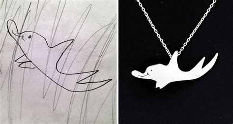 childrens drawings turned  jewelry  create timeless