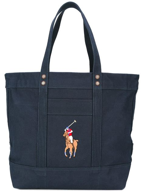 Embroidered Tote Bag polo ralph embroidered logo tote bag in blue lyst