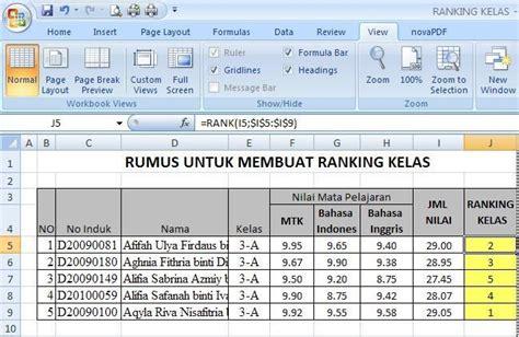 rumus membuat ranking di excel 2007 membuat ranking kelas dengan excel kapan pun it solutions