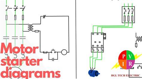 motor starter diagram start stop  wire control starting   phase motor youtube