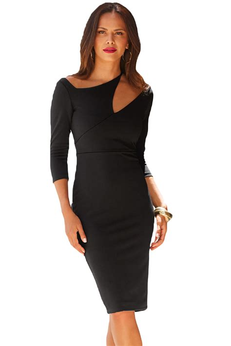 Cutout Shoulder Midi Dress us 7 71 black asymmetric cutout shoulder bodycon midi