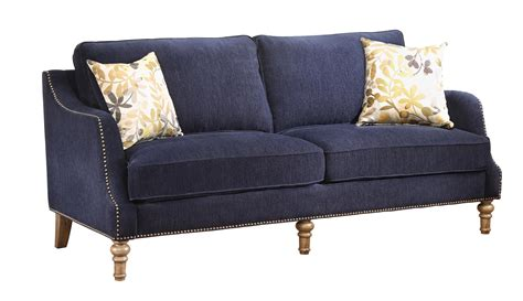 vessot transitional sofa with nailhead studs and feather