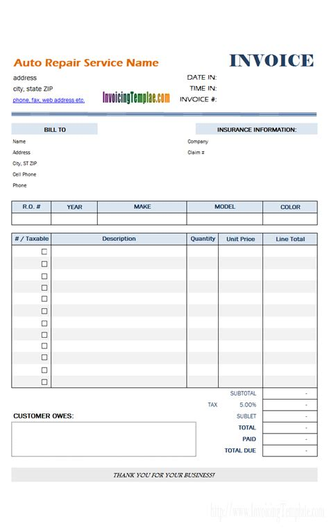 auto shop receipt template auto repair invoice template
