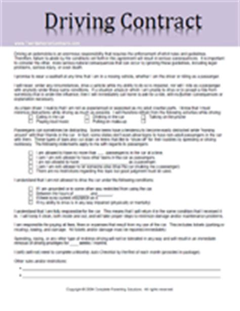 Agreement Letter For Driver Search Results For Printable Behavior Contracts Calendar 2015