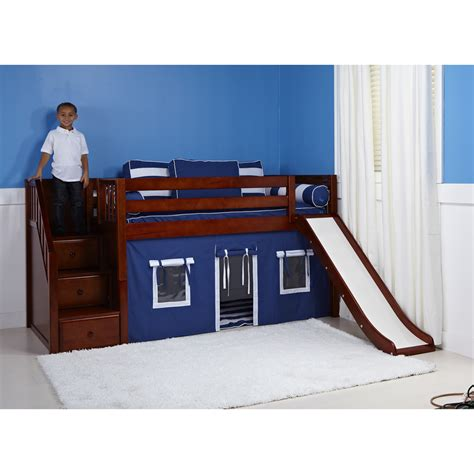 Bunk Bed With Stairs And Slide Maxtrix Delicious Playhouse Low Loft In Chestnut W Stairs Slide Slat Bed Ends 325 1s