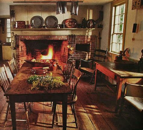 Kitchen Dining Room Fireplace Early American Style Kitchen So Cozy Primitive Home