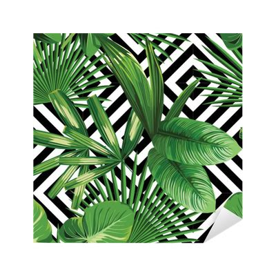 tropical pattern png tropical palm leaves pattern geometric background sticker