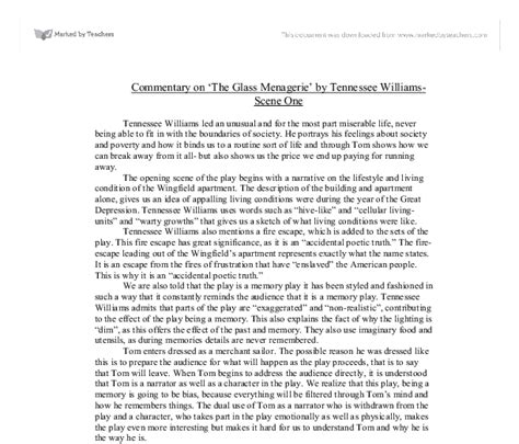 Tennessee Williams Essay by Essay On The Glass Menagerie And The Of Tennessee Williams Reportz436 Web Fc2