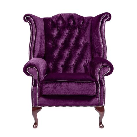 purple armchair purple velvet queen anne handcrafted in the uk