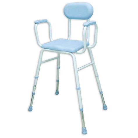 Perching Stool With Back And Arms by Pu Moulded Perching Stool With Padded Arms Padded Back