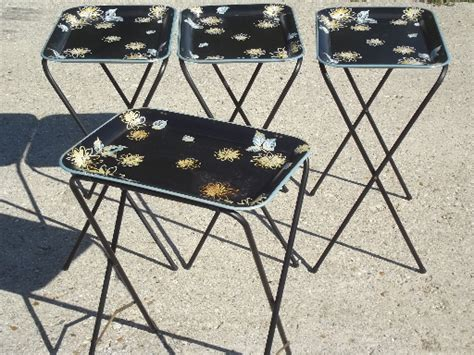Vintage tin tray TV tables, retro all metal folding tables