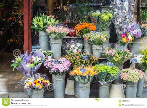 flower shop in paris paris france they display all colorful bouquets in front of flower shop paris france