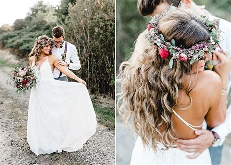 braut blumenkranz romantische boho hochzeit boho wedding pinterest