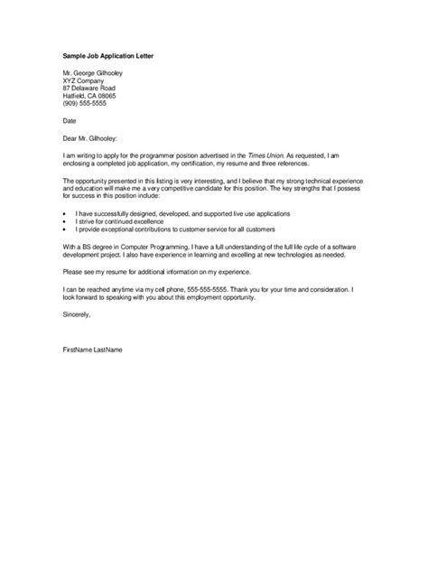 Application Letter Format With Exle | general application letter template 2 free templates in