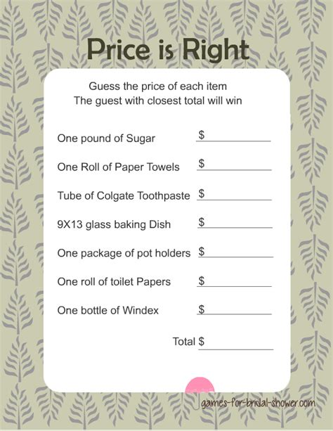 printable bridal shower games for free free printabel price is right bridal shower game