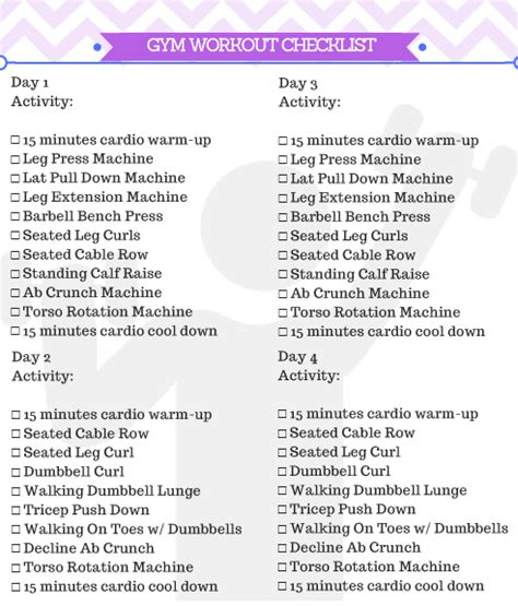 printable exercise program for beginners beginner gym workout for women free printable kicking