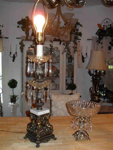 antique crystal table ls angel cherub 2 tier crystal prism marble brass bronze