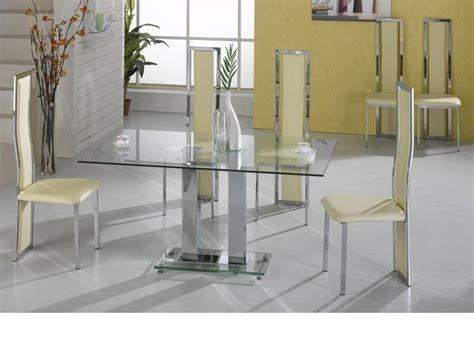 glass dining table 6 chairs large clear glass dining table and 6 chairs homegenies