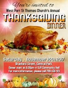 Thanksgiving 2017 Template Postermywall Thanksgiving Dinner Flyer Template